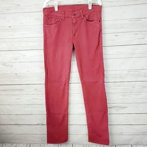 "7 For All Mankind Red ""Slimmy"" Jeans Size 31"